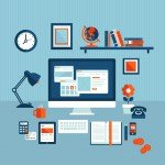 Flat design concept of modern business workspace
