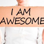 I am awesome text on cardboard