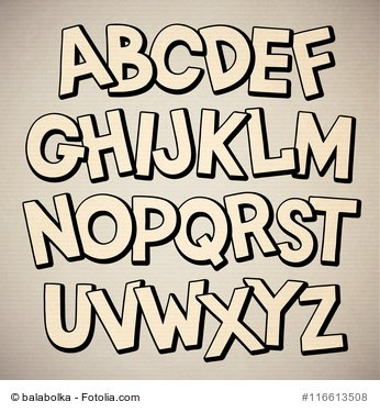 Hand drawn cartoon doodle font. Vector alphabet