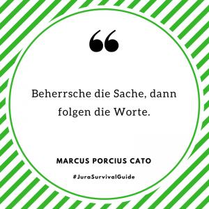 Beherrsche die Sache, dann folgen die Worte. (Marcus Porcius Cato)