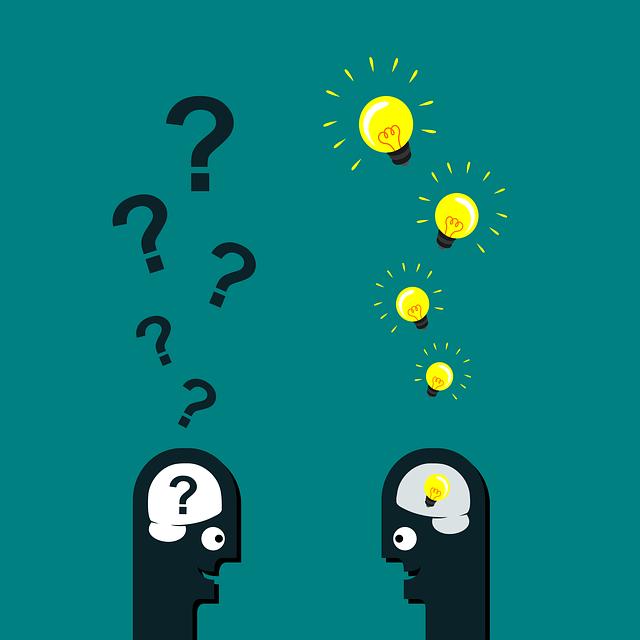 Gespräch zwischen Glühbirne und Fragezeichen