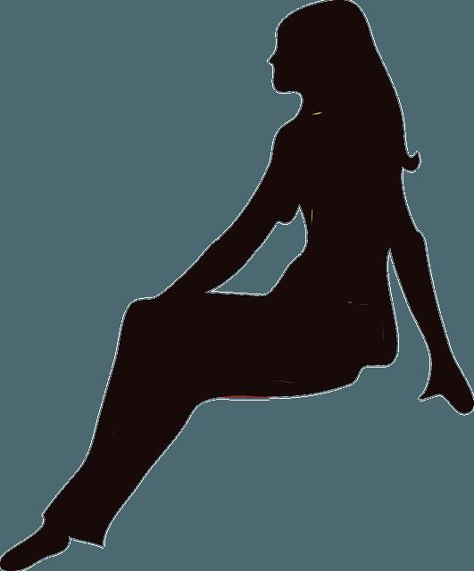 Silhouette sitzende Frau