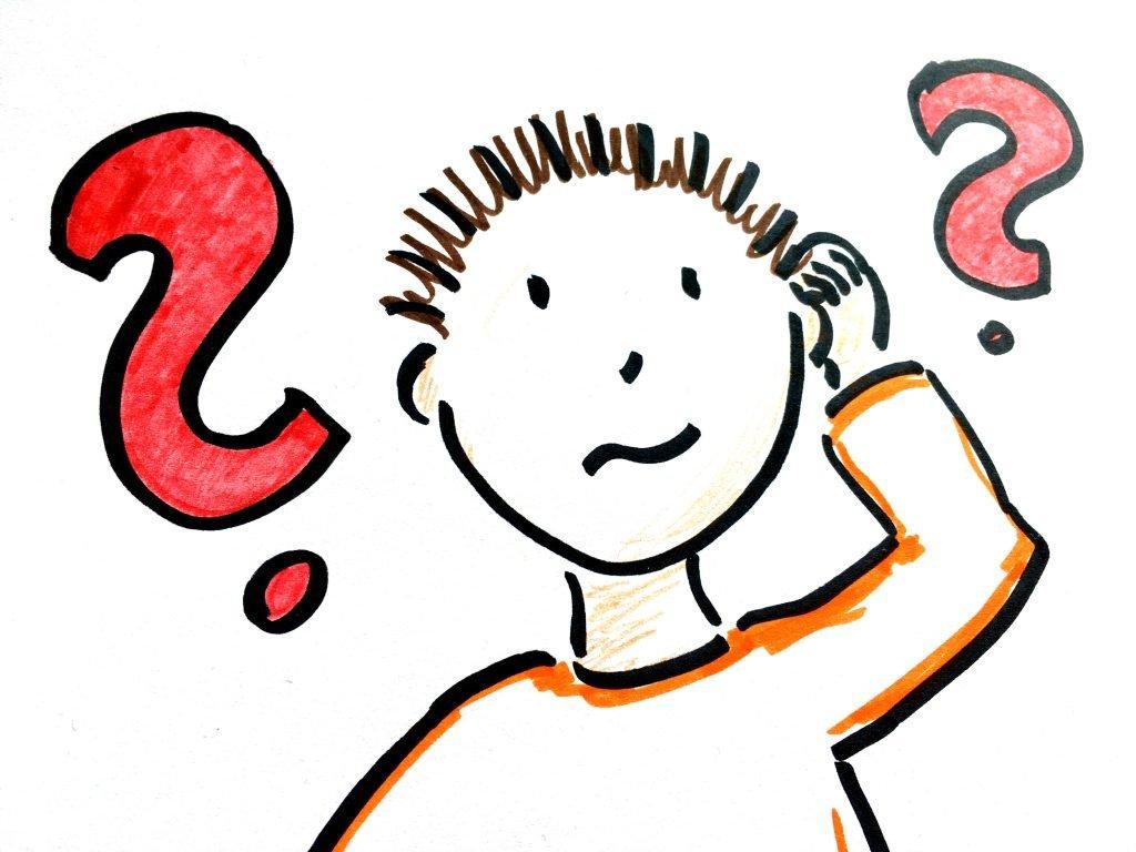 Suchender mit zahlreichen Fragen und zu bearbeitenden Themenfeldern.