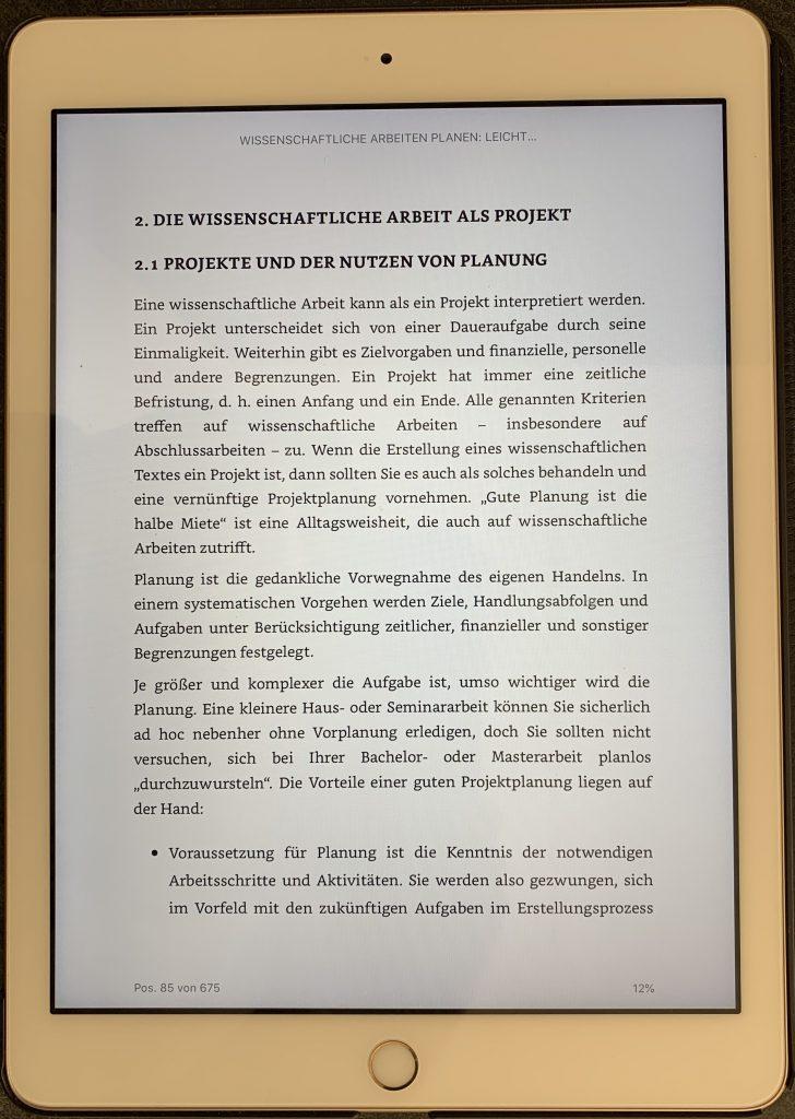 eBook auf dem ipad