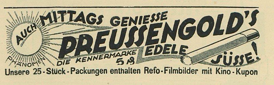 Reklame für eine Zigarette anno 1929